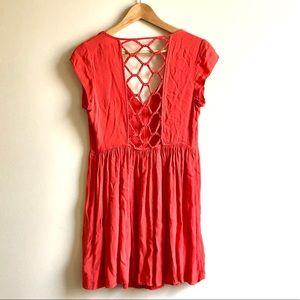 UO lace-up back cutout mini dress